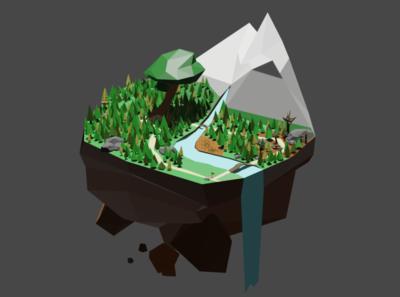 Level-Design lowpoly game web design level blender