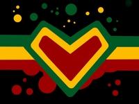 Love icon illustration vector art yellow green red logo design one love jamaica