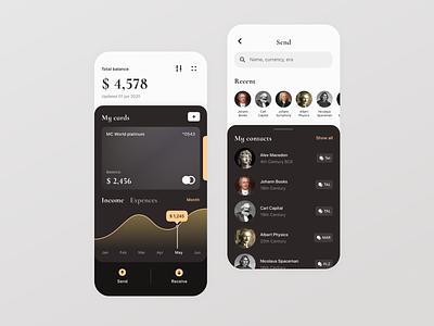 Timeless Banking Mobile App brown ui history app design transfer money transfer finance banking mobile ui app