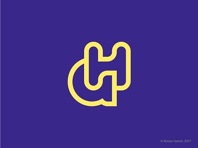A+H monogram letter h letter a identity band stroke minimalism monogram logo