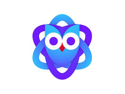 Atom Owl education logo science owl gradient education minimalism identity logomark brand logo logotype