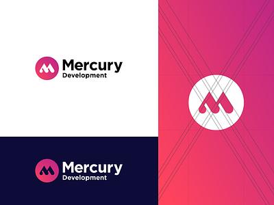 Mercury Development - Logo Redesign Concept mercury minimalism identity flat logotype monogram minimalistic logomark branding brand logo