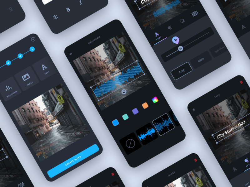 Mobile Video Editor for Podcasters dark ui mobile app design night mode dark audio podcast video editor mobile android ios app ux design interface ui