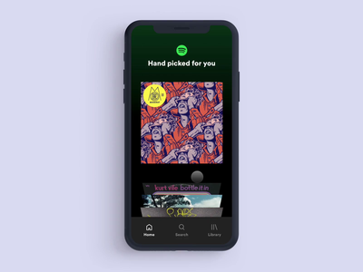 Spotify Album Select (crate digging) app design mobile ui android uiux prototype interaction motion product transition feed music spotify ios mobile app design ux interface ui