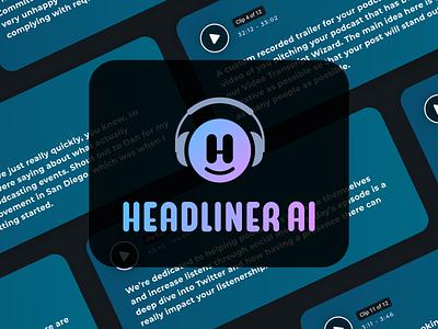 Headliner AI icon analytics data machine learning artificial intelligence ai branding identity logo mark symbol app product podcast audio brand tech minimal logo design design
