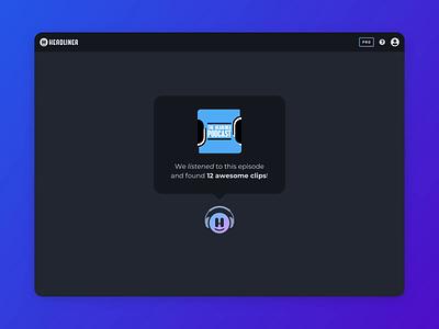 Headliner AI: Podcast Clip Suggestions design interface ux ui app product web podcast audio ai artificial intelligence machine learning tech webapp dark ui minimal app design algorithm rss motion