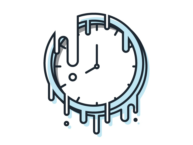 Time Waits For No One monoweight offset drawing melting clock illustration vector time