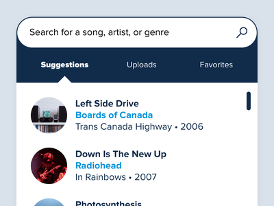 Track Search library playlist music app search bar app mobile streaming tracks songs filter interface ux ui search engine search 8tracks music