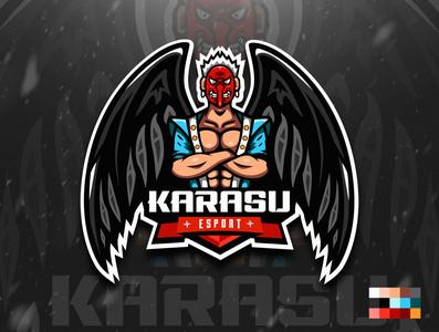 Karasu Tengu Esport Logo mascot logo esports logo sports vector mascot logo illustration esports design branding