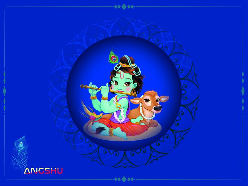 Lord Krishna book cover artwork character illustration design cartoon character animation vector minimal religious