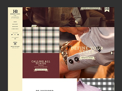 HB Homepage website clothes clothing shirt style plaid fashion web design brand