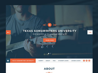 TSU homepage homepage texas austin responsive blue orange music atx star