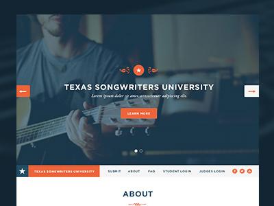 TSU homepage homepage texas austin responsive blue orange music atx star