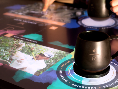 Starbucks Interactive Coffee Tasting Experience modern colorful starbucks coffee paint watercolor table interactive