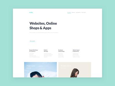 Homepage website landing header flat design clean