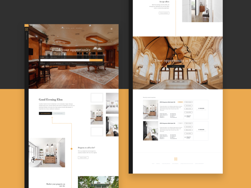 Homepage ux ui product website guide search estate property app landing