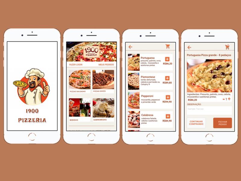 Redesign App Pizzeria 1900 pizzeria pizza application app design app android app user interface restaurant app restaurant redesign design