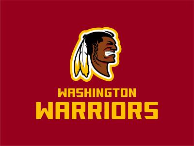 Washington Warriors illustration rebrand branding identity nfl logo warriors washington redskins