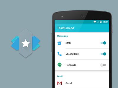 TeslaUnread visual design icon ux ui android notification unread tesla design material