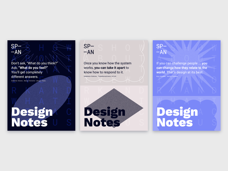 Design Notes x SP—AN 2018 Poster Series illustration google design google span18 interview notes design podcast series poster