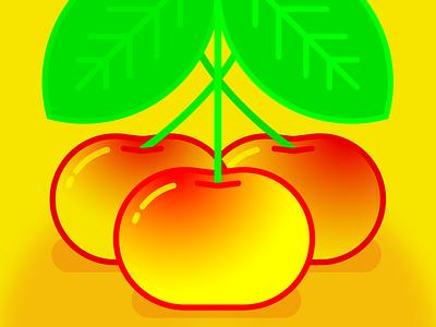 💛🍒 yellow cherries 🍒💛 summer illustration illo red monoline gradient yellow cherry cherries