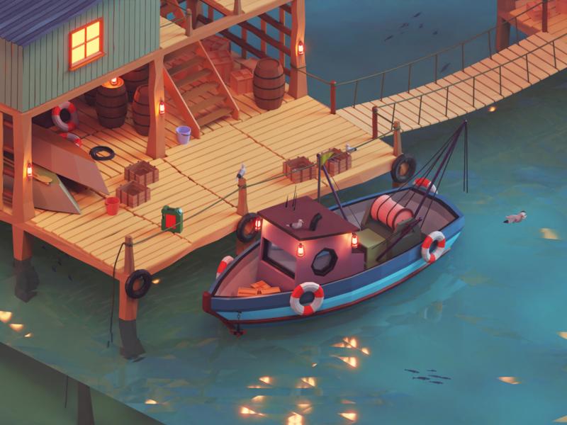 Fishing Station sea fishing boat vector game art lowpoly render isometric illustration design blender 3d