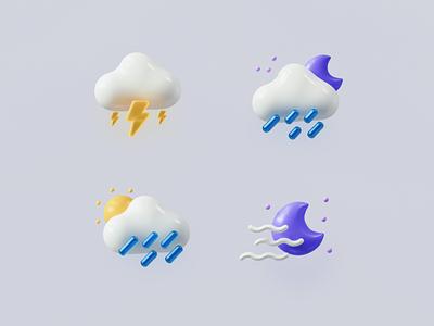Weather Icons (Part 1) wind illustraion thunder lightning rainy rain sun cloud moon weather icon weather branding vector render design blender 3d