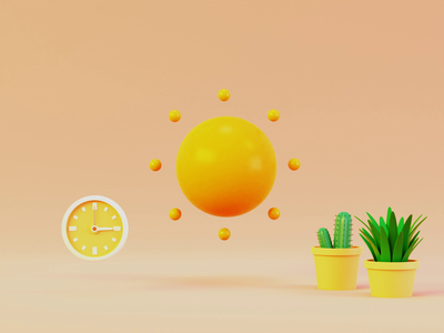 Sun and moon sun motion design motion kit weather icon weather app time clock plants loop animated animation weather minimal illustration vector render design blender 3d