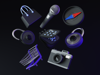 Iconly 3D icon clean dark calendar shopping cart shopping bag camera unlock lock microphone compass branding minimal illustration vector render design blender 3d
