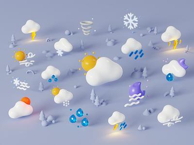 Weatherly 3D illustration colors cycle isometric wind tornado tree snow raindrops rain lightning moon clay weather cloud minimal illustration render design blender 3d