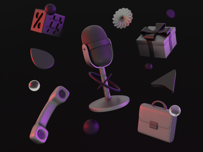 Iconly 3D (Part 2) 3dicon icon design percent hashtag job pointer call glass gift box microphone branding dark clean icon minimal illustration render design blender 3d