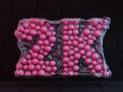 Piqo has reached 2K minimal user follower 2k congrats celebration pattern plastic plastic bag dark color ball basketball dribbble branding illustration render design blender 3d