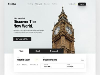 Travel bug flight booking concept tour ui tour agency travel ui travel landing landing page webdesign website web design homepage