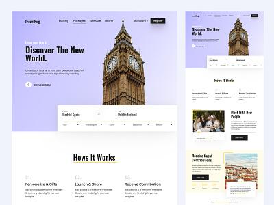 Travelbug Travel and Trip Landing Page tourism tour flight trip travel uiux graphic design web website landingpage homepage web design webdesign landing page