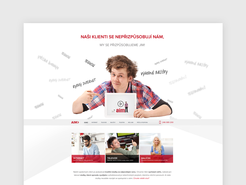A1M Website a1m website homepage flat responsive white design internet phone provider