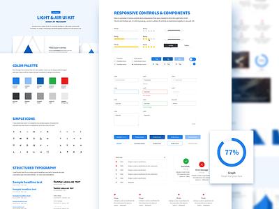 Light and Air UI Kit air light blue button dashboard sketch kit ux ui
