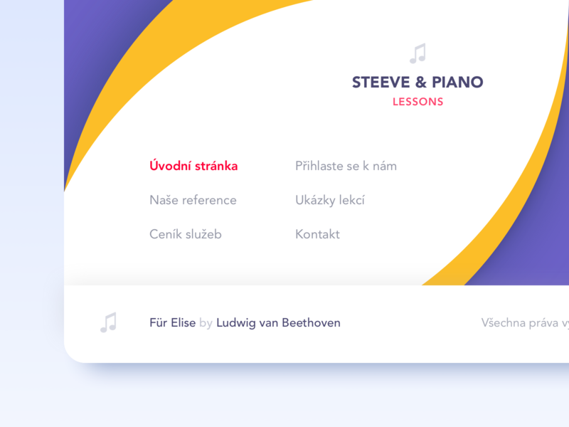 Colorful landing page footer