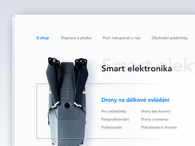 Online store category design minimalistic blue shadow flat category page store