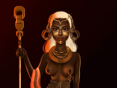 "Achebe (in African): ""woman protected by goddesses"". woman girl illustration womanart portrait photoshop art photoshop illustration girl character illustration art"