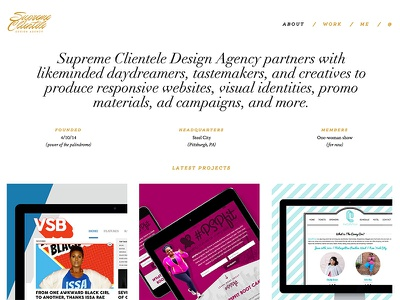Supreme Clientele Redesign redesign creative direction ux ui wordpress website web design web parallax responsive