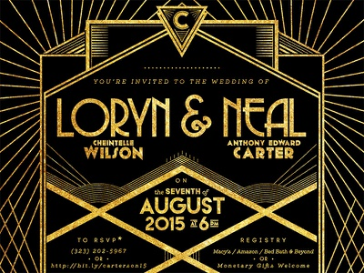 Loryn & Neal Wedding Invite invitation wedding art deco art direction print graphic design