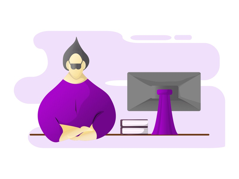 A clerk with the shades of purple idea graphic flat financial executive documentation evelopment corporated computer company communication client character cartoon career planning peoplebusiness business art active