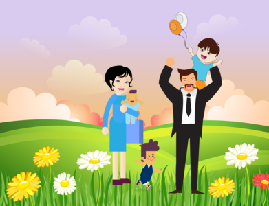father day illustration illustrator happy flower love garden mather woman girl boy baby child fathersday dad father