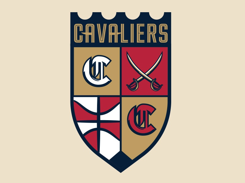 Cavaliers Secondary sports basketball cavaliers cleveland shield swords logo identity branding