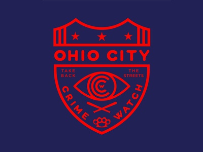 Ohio City Crime Watch justice crime cleveland ohio city logo bats brass knuckles type vector badge