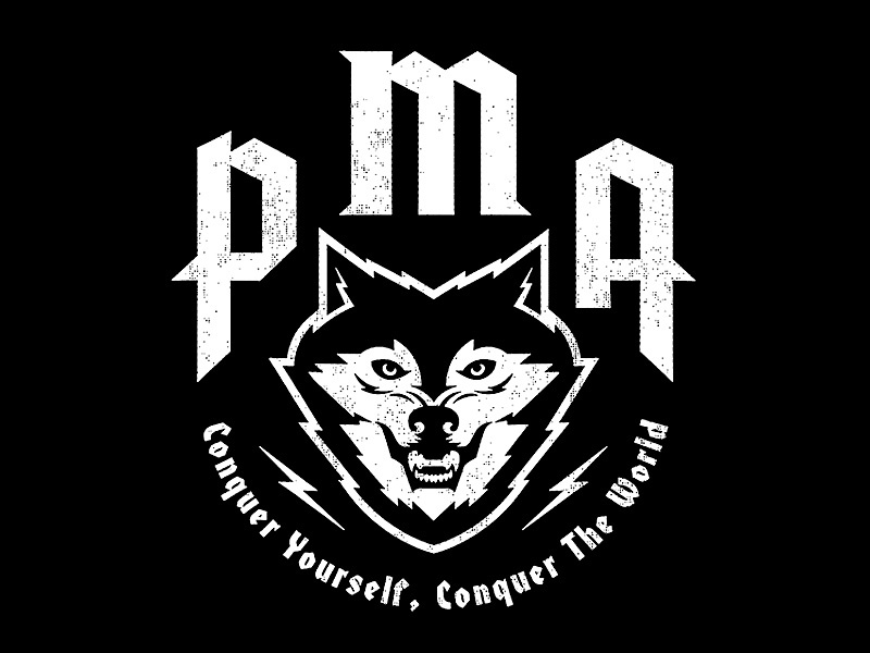 Positive Mental Attitude X AID Podcast Tee positivity self-improvement apparel wolf merch vector type animal