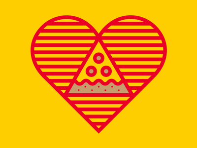 Pizza Heart Drbl heart badge vector pizza