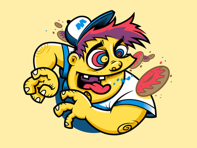 Donut Freak branding vector kid husky cartoon mascot