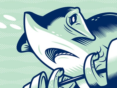 The sea is no place for shrimps. ferocious shark aquatic weights exercise vector illustraion zine