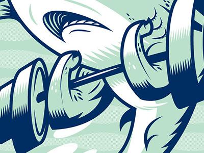 The sea is no place for shrimps - Full shark vector weights ferocious tough print screen print illustartion biceps teeth water ocean sea fish aquatic